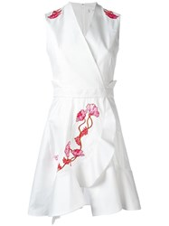 Carven Embroidered Flower Dress White