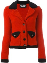 Boutique Moschino Cropped Knitted Blazer Red
