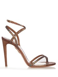 Aquazzura Leila Glitter And Leather Sandals Multi