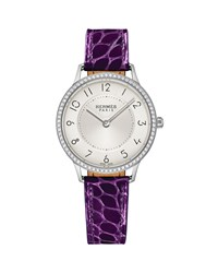 Slim D'hermes Watch With Diamonds And Currant Alligator Strap