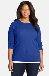 Plus Size Women's Halogen Cashmere Crewneck Sweater Blue Mazarine
