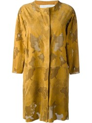 Drome Perforated Coat Yellow And Orange