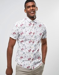 United Colors Of Benetton Short Sleeve Shirt With All Over Hawaiian Print White
