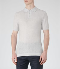Reiss Ramsey Mens Textured Polo Shirt In Grey