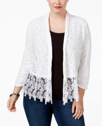 Inc International Concepts Plus Size Lace Trim Cardigan Only At Macy's White