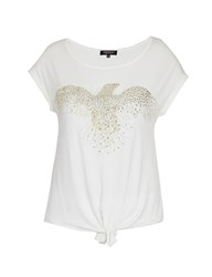 Morgan Top With Front Tie And Beaded Design Off White