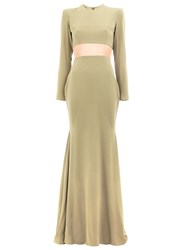 Alex Perry Cut Out Dramatic Train Gown Women Polyester Triacetate 8 Green