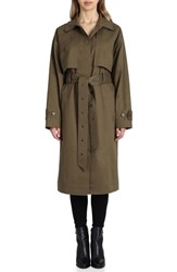 Badgley Mischka Cotton Blend Utility Trench Coat Olive