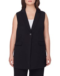 Tahari By Arthur S. Levine Plus Solid Notch Collared Vest Black