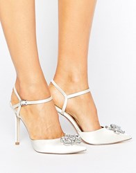 Asos Peppermint Bridal Embellished Pointed High Heels Ivory White