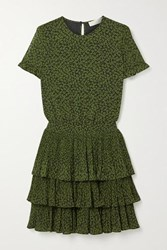 Michael Michael Kors Lilly Ruffled Tiered Floral Print Crepe Mini Dress Army Green