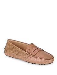Tod's Gommini Textured Leather Moccasins Natural