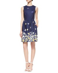 Erin Fetherston Sleeveless Floral And Butterfly Fit And Flare Dress Navy Multi