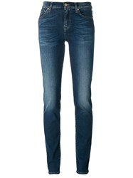 7 For All Mankind Light Wash Skinny Jeans Blue