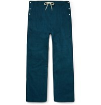 Sasquatchfabrix. Beams Wide Leg Drawstring Cotton Trousers Blue