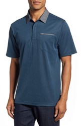 Travis Mathew Change The Game Regular Fit Polo Blue Wing Teal Black
