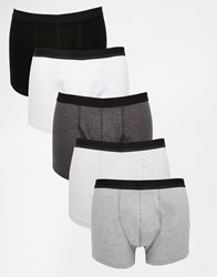 Asos Trunks 5 Pack In Monochrome Save 28 Multi