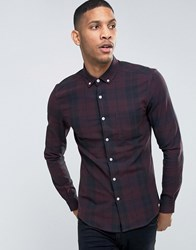 Asos Skinny Mid Scale Check Shirt In Purple Purple