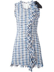 Msgm Fringe Hem Plaid Dress Blue