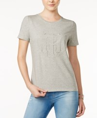 Tommy Hilfiger Logo Graphic T Shirt Only At Macy's Heather Grey