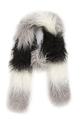 Trouve Long Faux Fur Scarf Black Combo