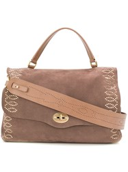 Zanellato Studded Shoulder Bag Brown
