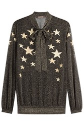 Roberto Cavalli Star Printed Lurex Blouse Gold