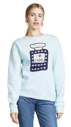 Michaela Buerger I Love Paris Perfume Bottle Sweatshirt Light Blue Multi
