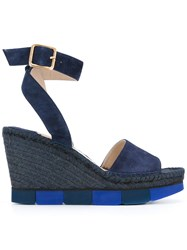 Paloma Barcelo Wedge Sandals Women Raffia Leather Suede Rubber 37 Blue