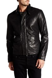 John Varvatos Genuine Sheep Leather Bomber Jacket Black