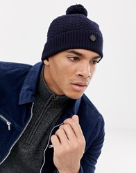 Ted Baker Multhat Bobble Beanie With Multi Stitch Navy