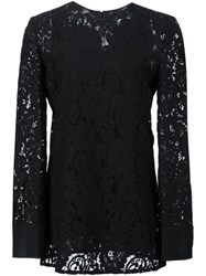 Lanvin Floral Lace Top Black