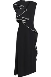 Vionnet Ruffled Crepe Midi Dress Black