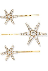 Jennifer Behr Aurelia Set Of Three Gold Tone Crystal Hair Slides Silver