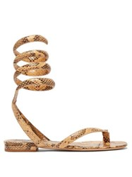 Bottega Veneta Python Embossed Leather Sandals Light Tan