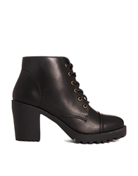 London Rebel Lace Up Heeled Ankle Boots Black