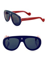 Moncler 51 Mm Dual Tone Aviator Sunglasses Navy Red