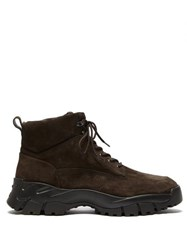 Tod's Chunky Sole Suede Hiking Boots Dark Brown