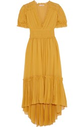 Ulla Johnson Sonja Ruffled Crinkled Silk Chiffon Dress Yellow