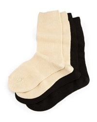Neiman Marcus Cashmere Blend Two Pack Socks Black Cream