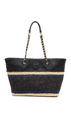 Tory Burch Marion Crochet Straw Tote Black