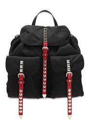 Prada Nylon Backpack W Studded Straps Black Red