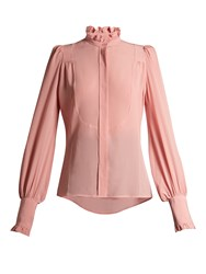 Isabel Marant Sloan Ruffled High Neck Blouse Light Pink