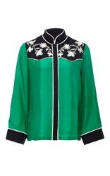 Cynthia Rowley Green Embroidered Yoke Silk Shirt Print