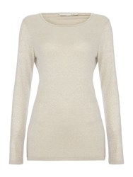 Oui Long Sleeved Sparkle T Shirt Taupe