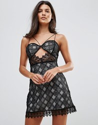 Millie Mackintosh Notting Hill Lace Cut Out Slip Dress Black