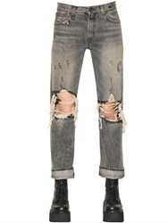 R 13 R13 Classic Fit Destroyed Cotton Denim Jeans