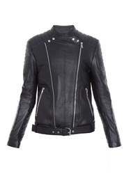 Balmain Ribbed Panel Leather Biker Jacket