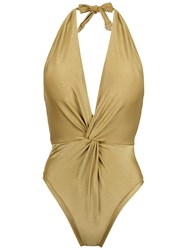 Martha Medeiros Halterneck Twisted Detail Swimsuit Yellow And Orange