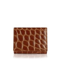 Giorgio Fedon Spiga Women's Brown Croc Stamped Calfskin Small Wallet